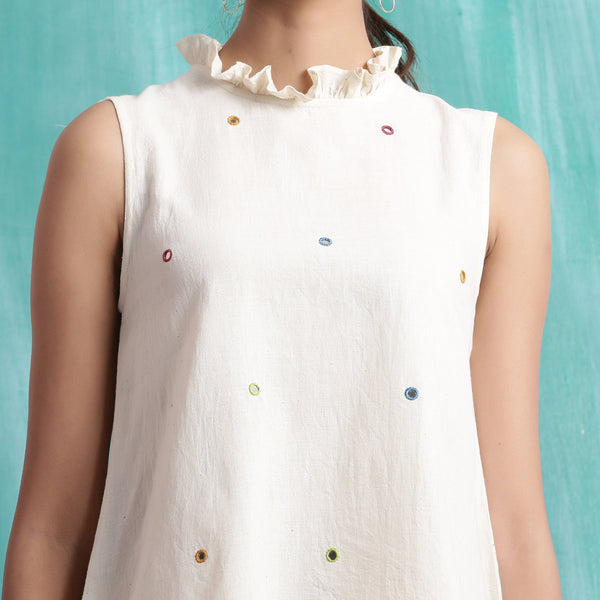 Front Detail of a Model wearing Undyed Mirror Work Sleeveless Top