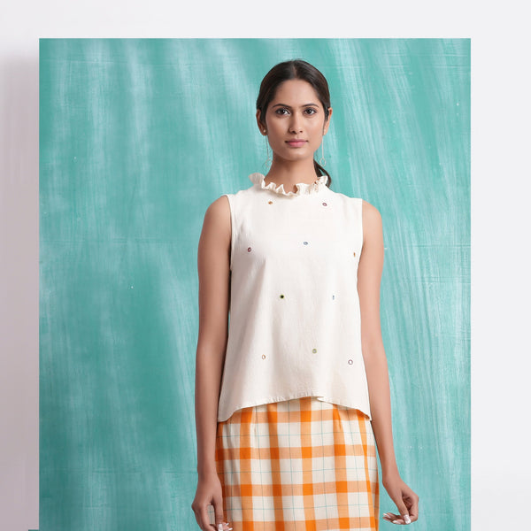Front View of a Model wearing Undyed Mirror Work Sleeveless Top