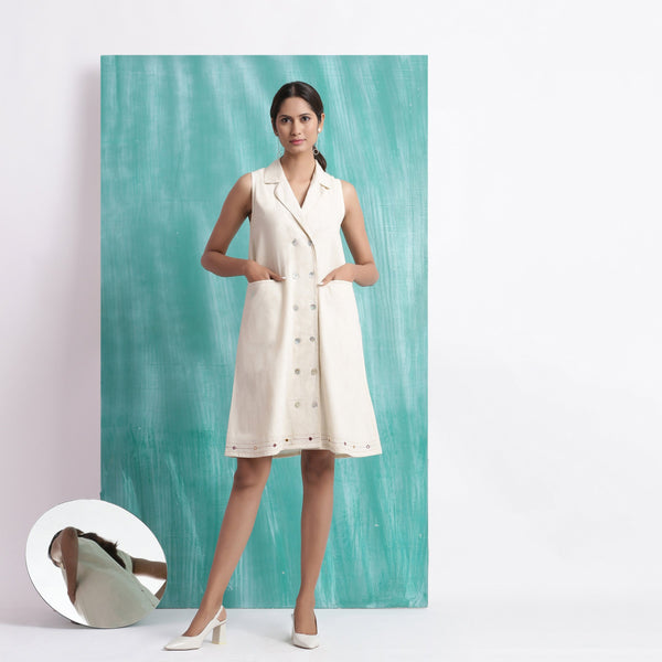 Front View of a Model wearing Undyed Button-Down Hand Mirror Work Dress