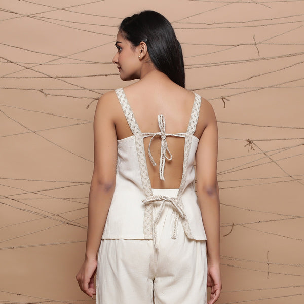 Back View of a Model wearing Undyed Handspun Strappy Lace Top