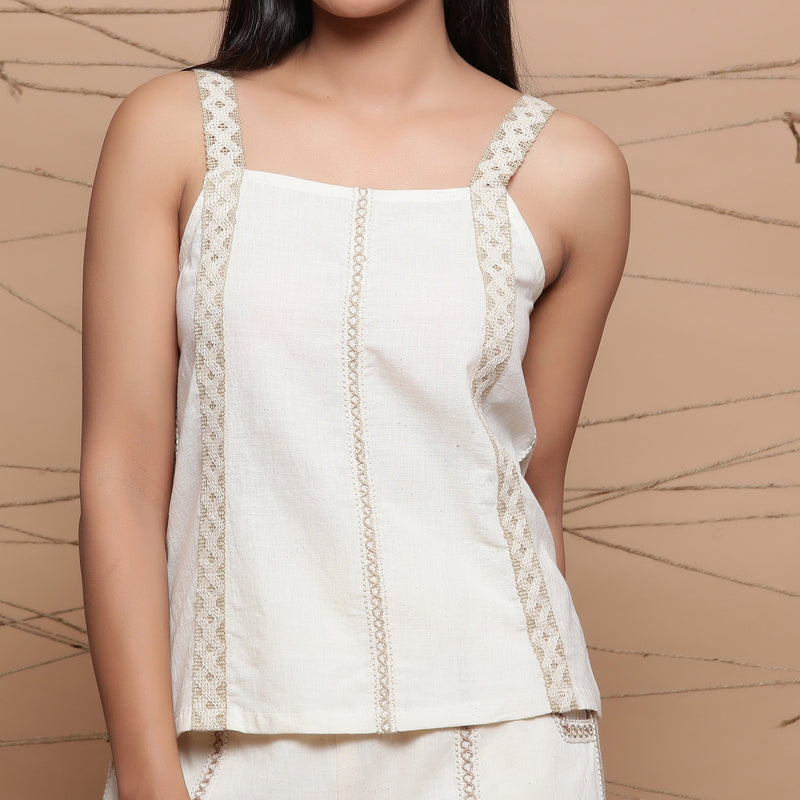 Front Detail of a Model wearing Undyed Handspun Strappy Tank Top