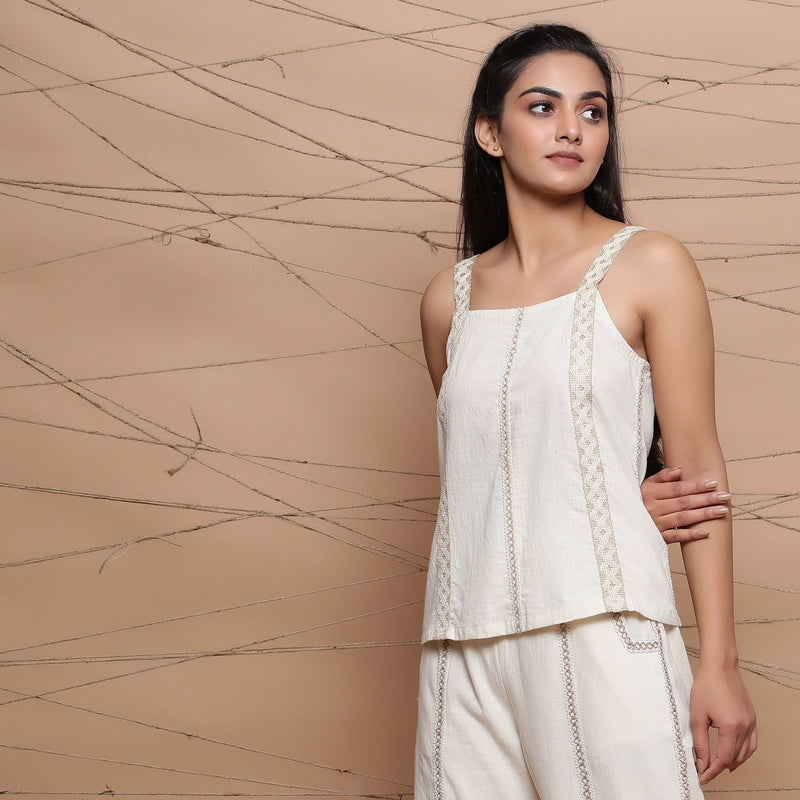 Front View of a Model wearing Undyed Handspun Strappy Tank Top