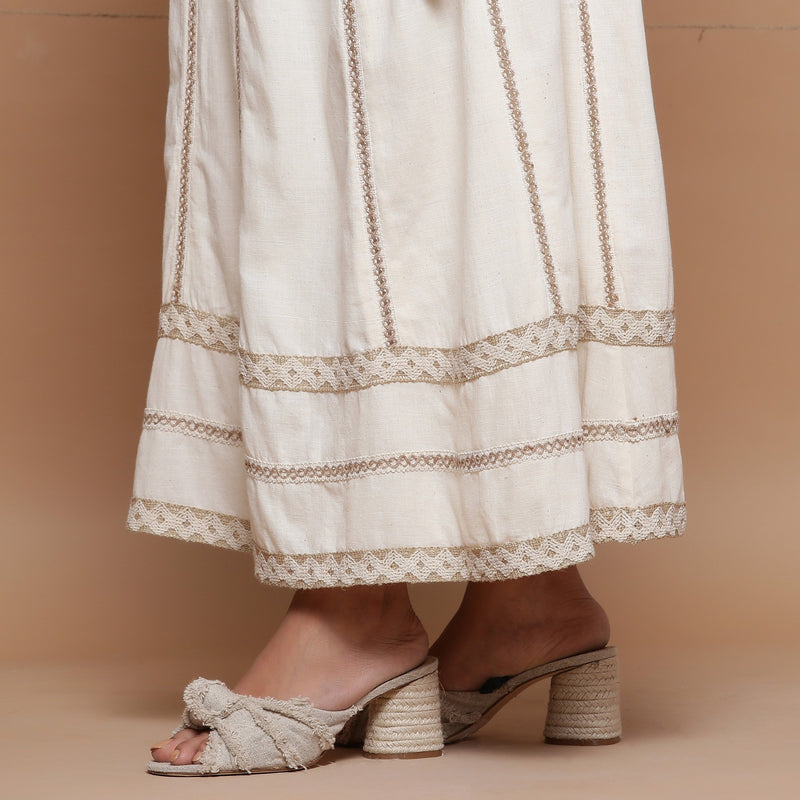 Close View of a Model wearing Undyed Cotton Jute Laced Flared Skirt