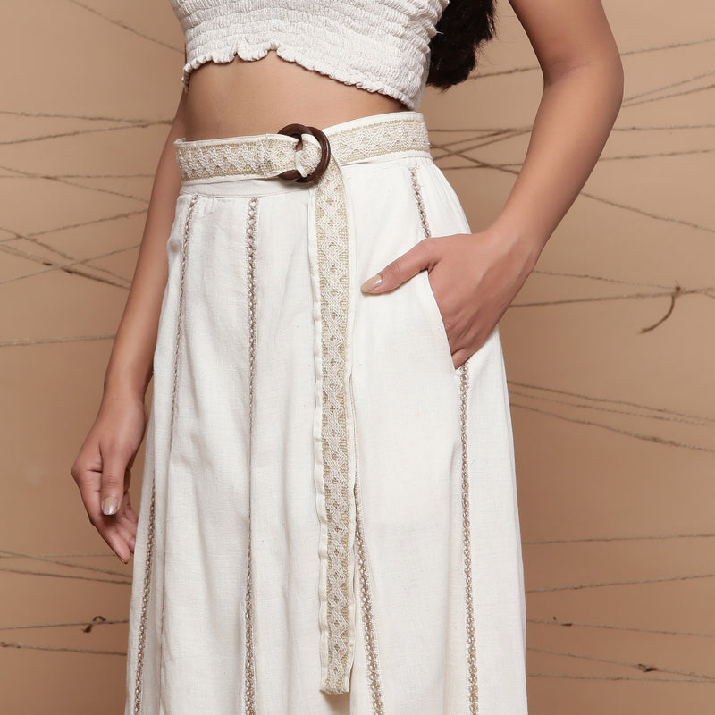 Left Detail of a Model wearing Undyed Cotton Jute Laced Flared Skirt