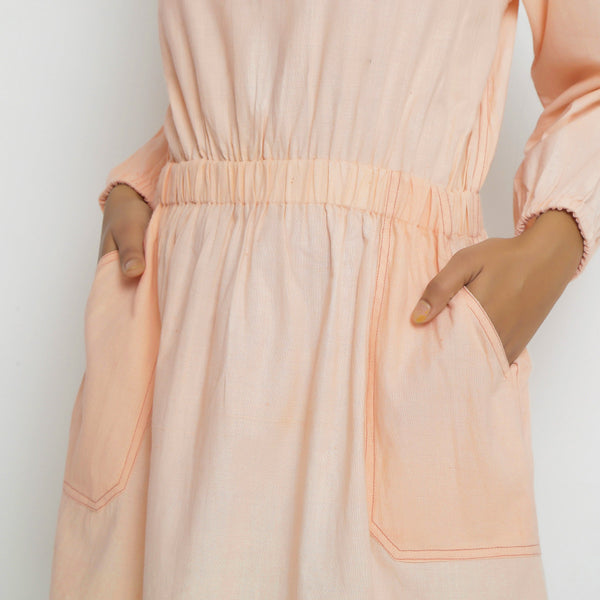 Vegetable Dyed Bishop Sleeves Dress