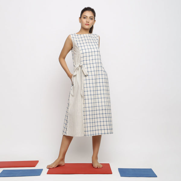 Front View of a Model wearing Vegetable Dyed Blue Checks Paneled Dress