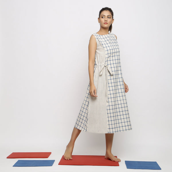 Right View of a Model wearing Vegetable Dyed Blue Checks Paneled Dress