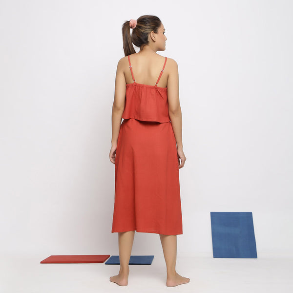 Back View of a Model wearing Vegetable Dyed Brick Red Spaghetti Top