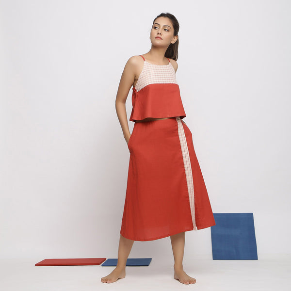 Front View of a Model wearing Vegetable Dyed Brick Red Spaghetti Top