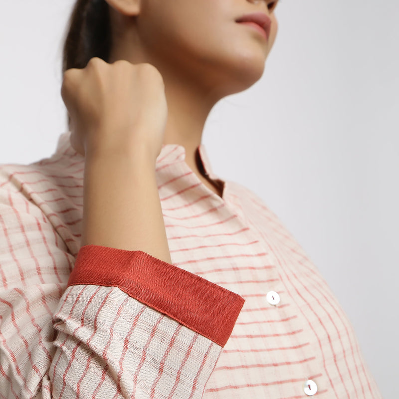 Right Detail of a Model wearing Vegetable Dyed Checkered Button-Down Shirt