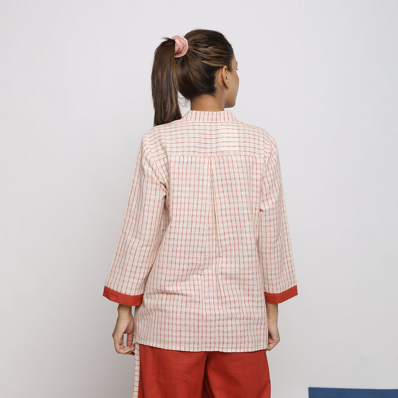 Back View of a Model wearing Vegetable Dyed Checkered Button-Down Shirt