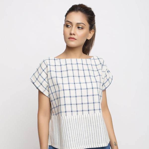 Front View of a Model wearing Vegetable-dyed Checks & Stripes Straight-fit Top
