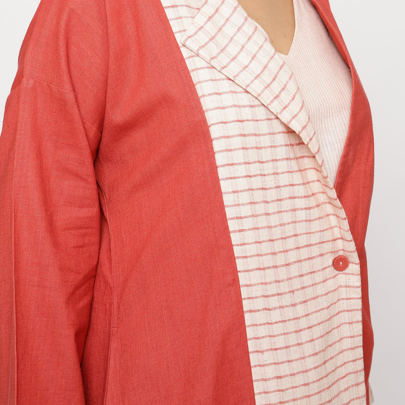 Right Detail of a Model wearing Vegetable Dyed Cotton Paneled Outerwear