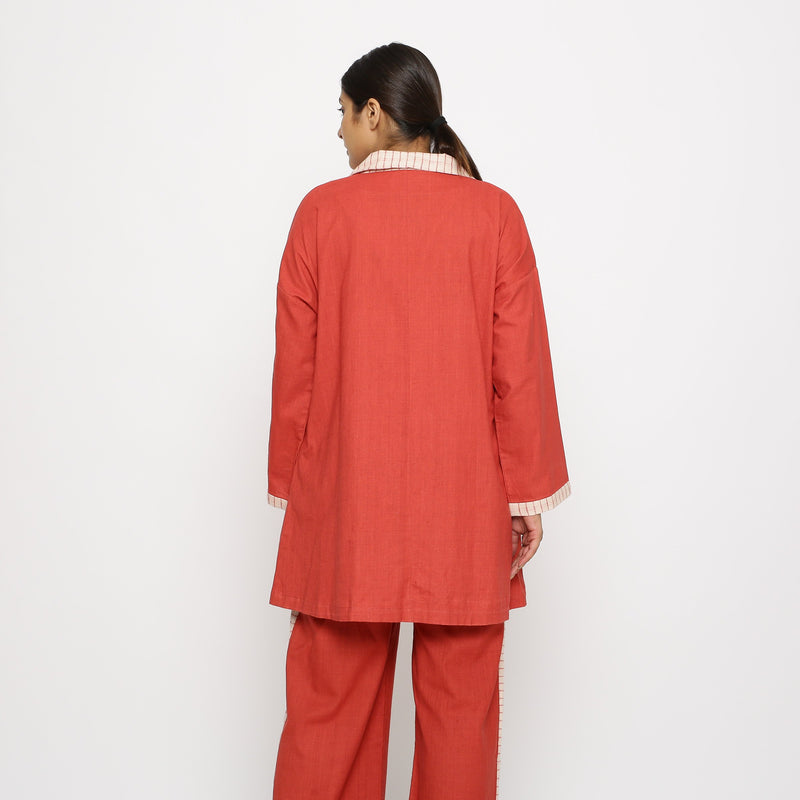 Back View of a Model wearing Vegetable Dyed Cotton Paneled Outerwear