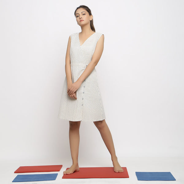 Front View of a Model wearing Vegetable Dyed Ecru Button-Down Dress