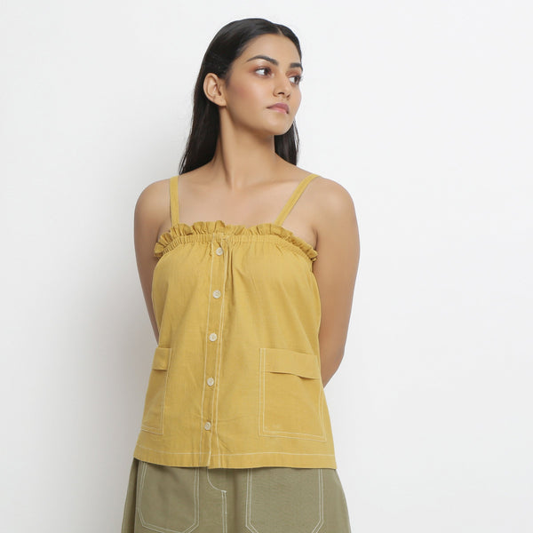 Front View of a Model wearing Vegetable Dyed Button-Down Camisole Top