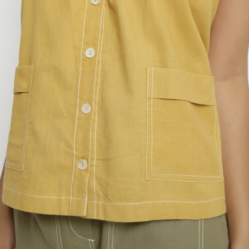 Front Detail of a Model wearing Vegetable Dyed Button-Down Camisole Top