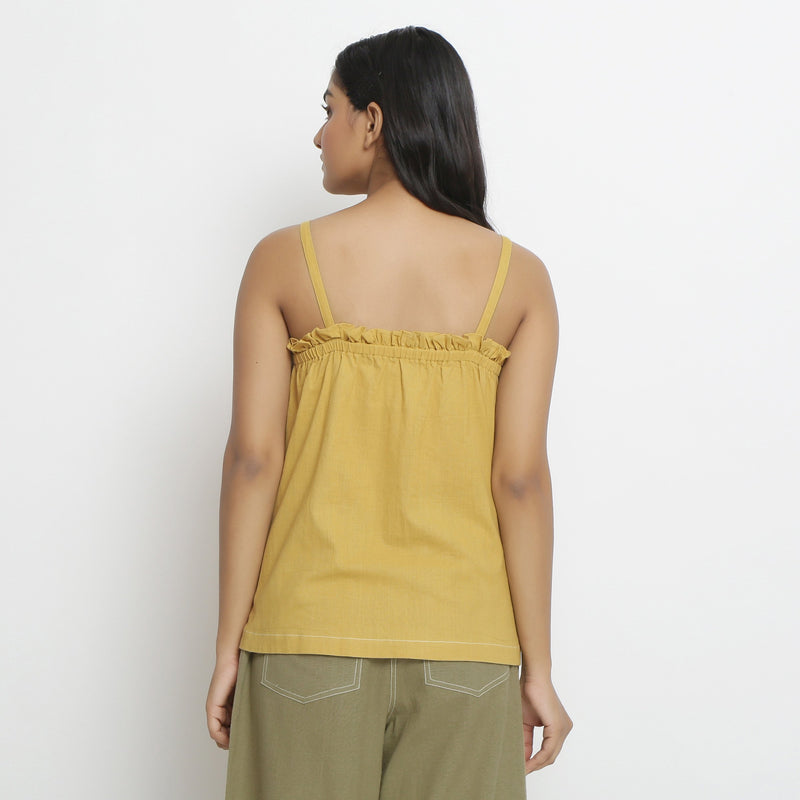 Back View of a Model wearing Vegetable Dyed Button-Down Camisole Top