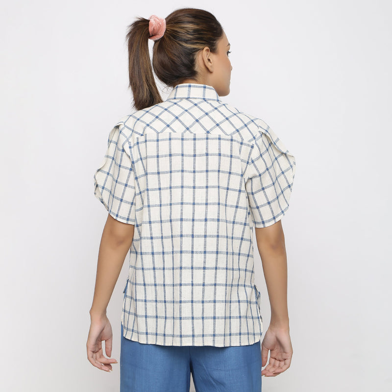 Back View of a Model wearing Vegetable Dyed Handspun Asymmetrical Shirt