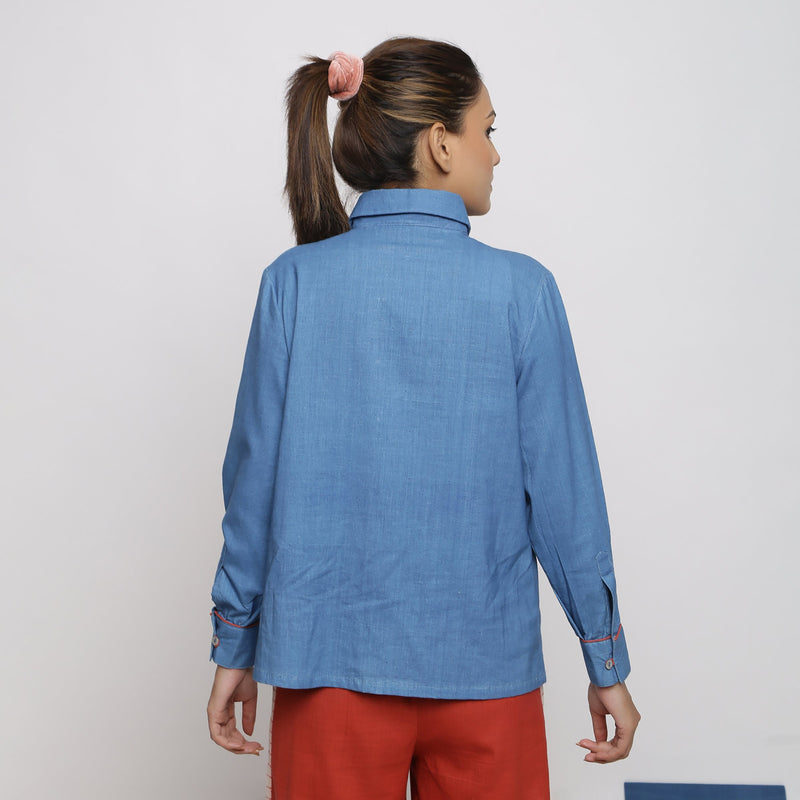 Back View of a Model wearing Vegetable Dyed Solid Button-Down Shirt