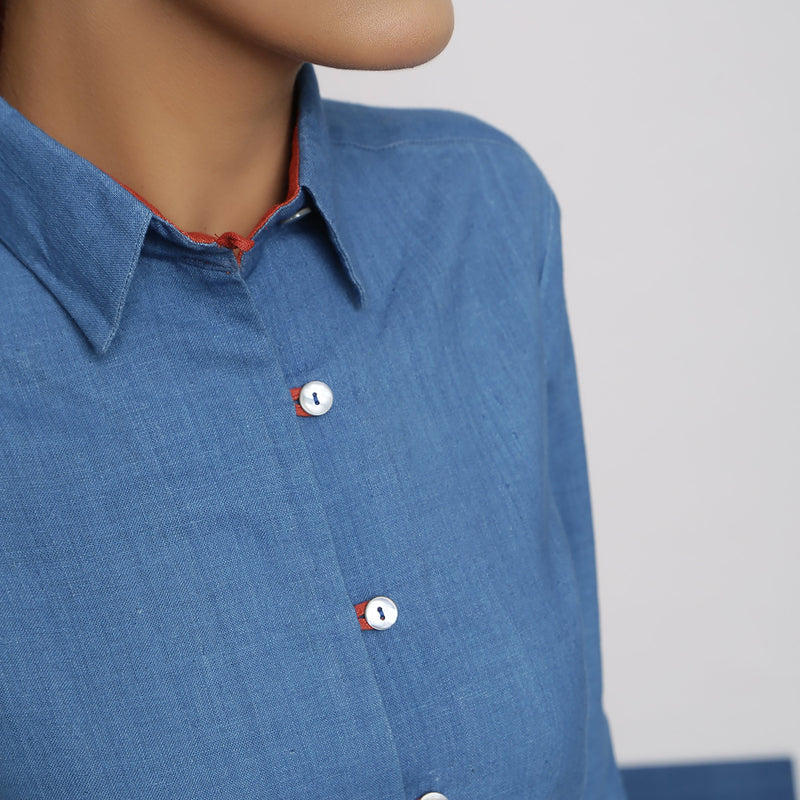 Front Detail of a Model wearing Vegetable Dyed Solid Button-Down Shirt