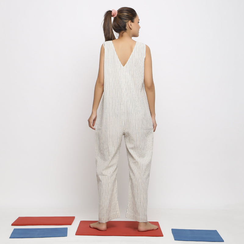 Back View of a Model wearing Vegetable Dyed Handspun Cotton Overall