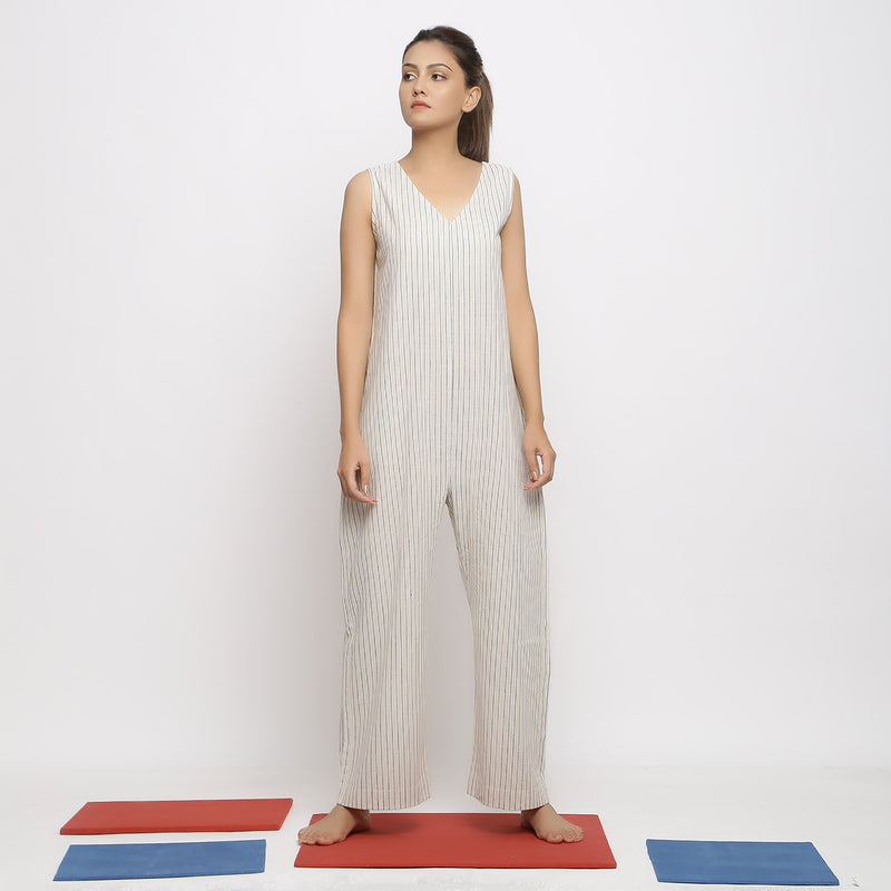 Front View of a Model wearing Vegetable Dyed Handspun Cotton Overall