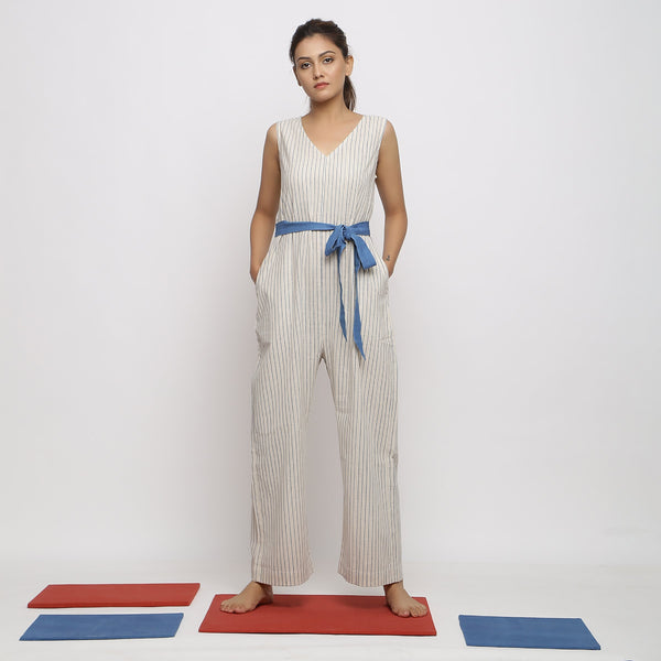 Front View of a Model wearing Vegetable Dyed Handspun Overall