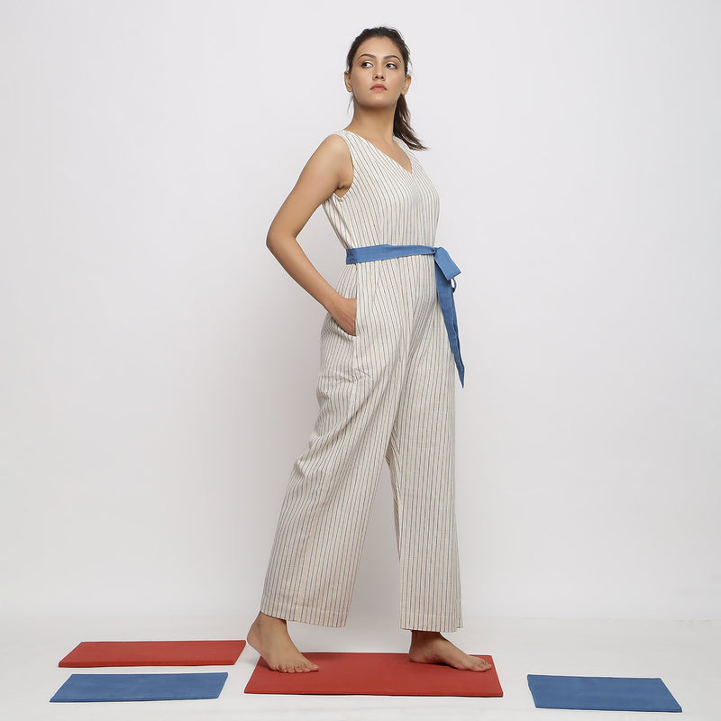 Right View of a Model wearing Vegetable Dyed Handspun Cotton Overall
