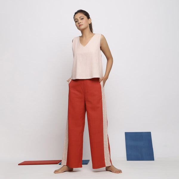 Front View of a Model wearing Vegetable Dyed Pink Deep Neck Top