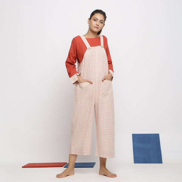 Front View of a Model wearing Vegetable Dyed Striped Pinafore Jumpsuit