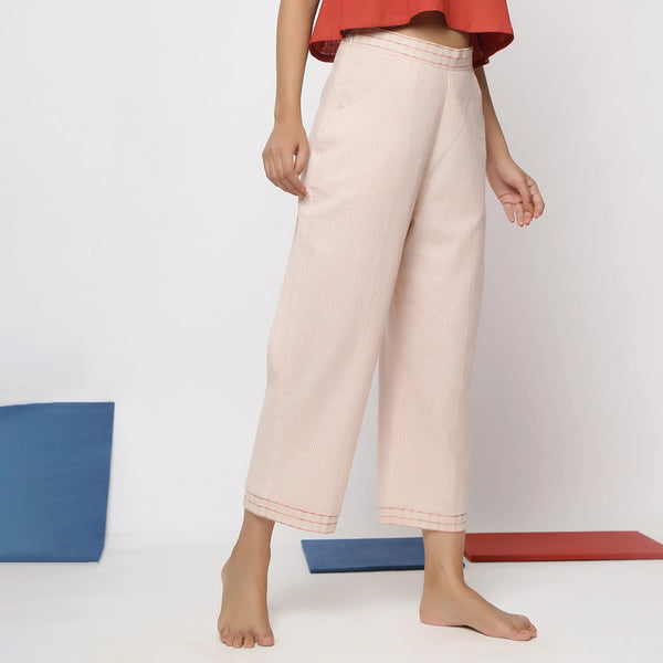Right View of a Model wearing Vegetable Dyed Wide-Legged Culottes