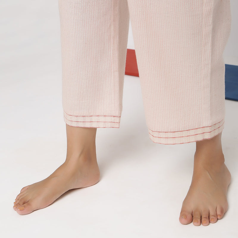 Close View of a Model wearing Vegetable Dyed Wide Legged Culottes