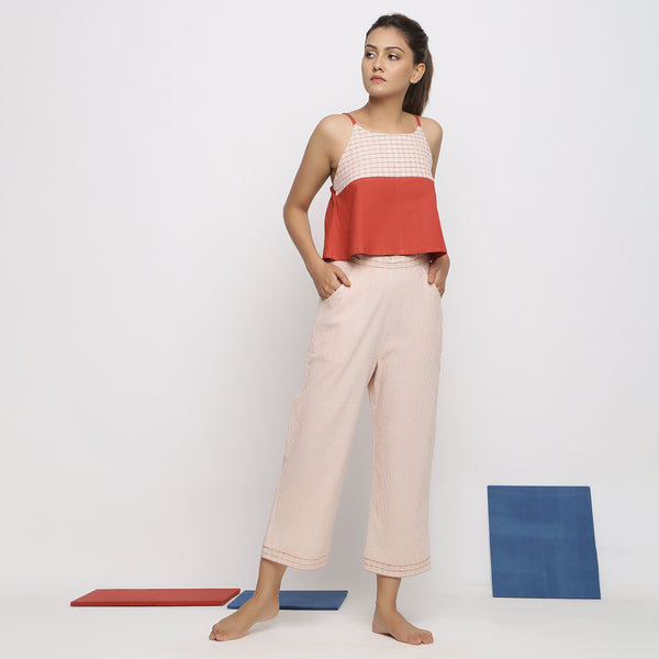 Front View of a Model wearing Vegetable Dyed Wide-Legged Culottes