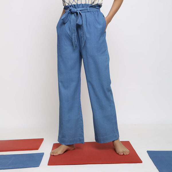 Front View of a Model wearing Vegetable Dyed Wide Legged Paperbag Pant