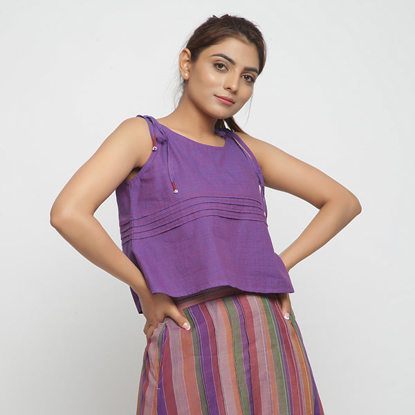 Right View of a Model wearing Violet Mangalgiri Cotton Solid Camisole Top