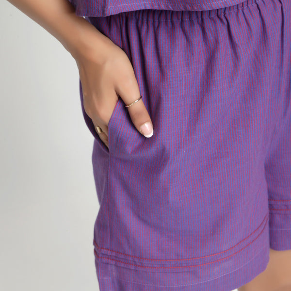 Right Detail of a Model wearing Violet Striped Mangalgiri Cotton Shorts