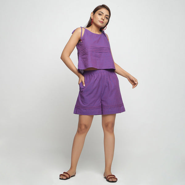 Front View of a Model wearing Violet Striped Mangalgiri Cotton Shorts