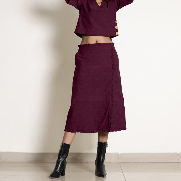 Front View of a Model wearing Warm Berry Wine A-Line Frilled Skirt