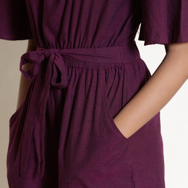 Front Detail of a Model wearing Warm Berry Wine Loose Fit Jumpsuit