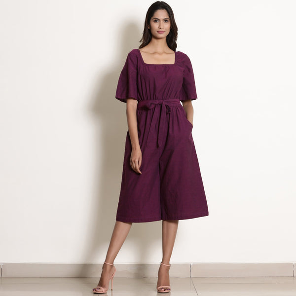 Front View of a Model wearing Warm Berry Wine Loose Fit Jumpsuit