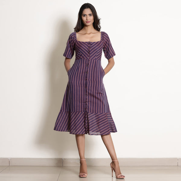 Warm Berry Wine Striped Button-Down Dress
