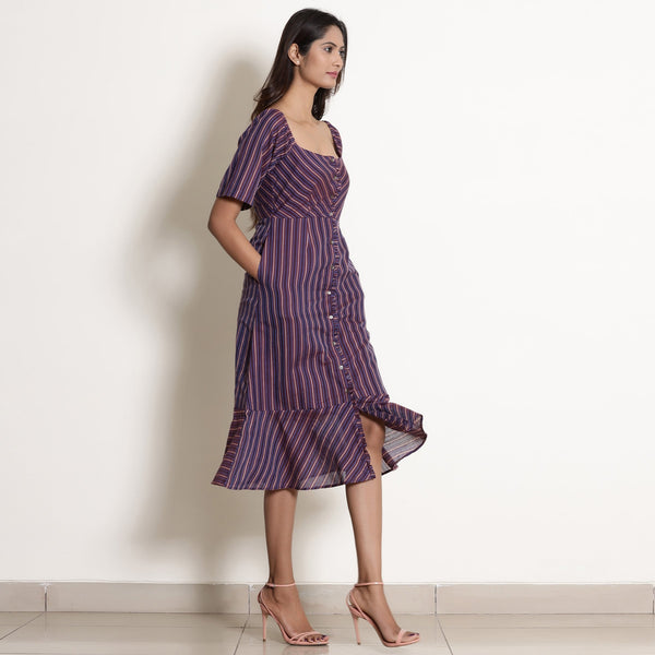 Right View of a Model wearing Warm Berry Wine Striped Button-Down Dress
