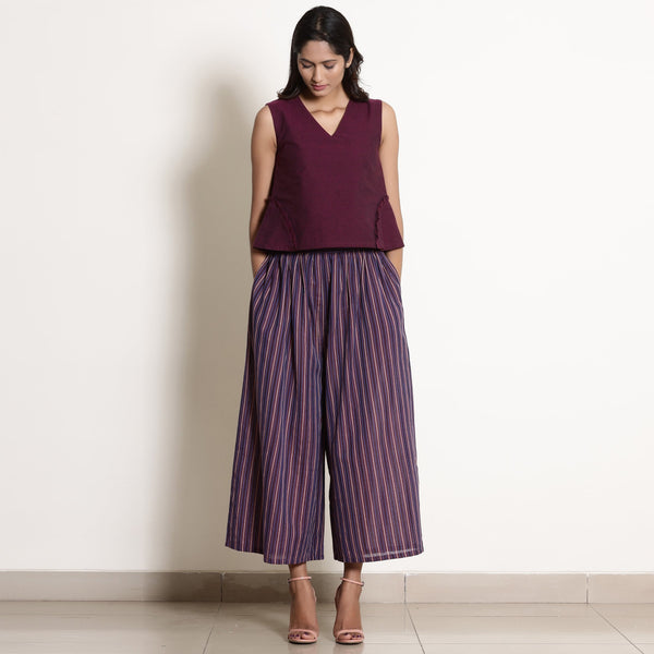 Warm Berry Wine Top and Striped Culottes Set