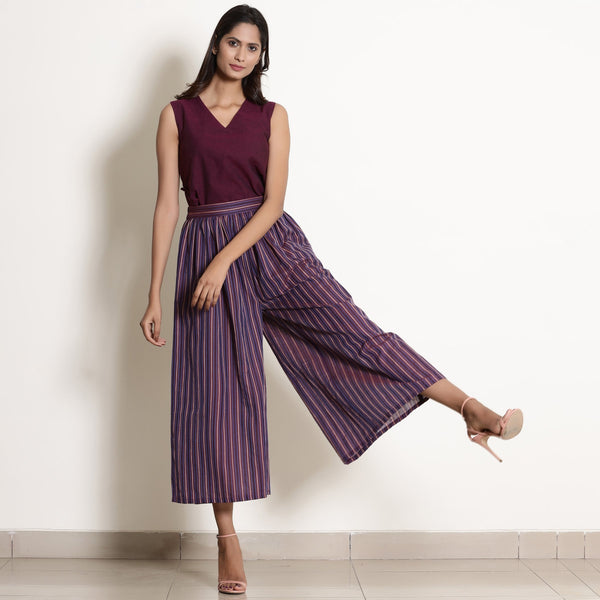 Front View of a Model wearing Warm Berry Wine Top and Striped Culottes Set