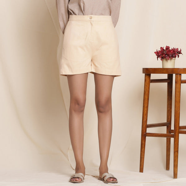 Warm Dusk Beige Cotton Flannel Shorts
