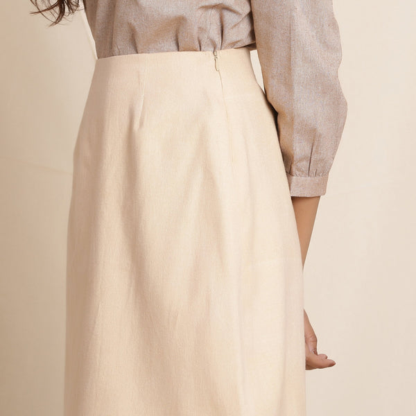 Left Detail of a Model wearing Warm Flannel Dusk Beige Pencil Skirt