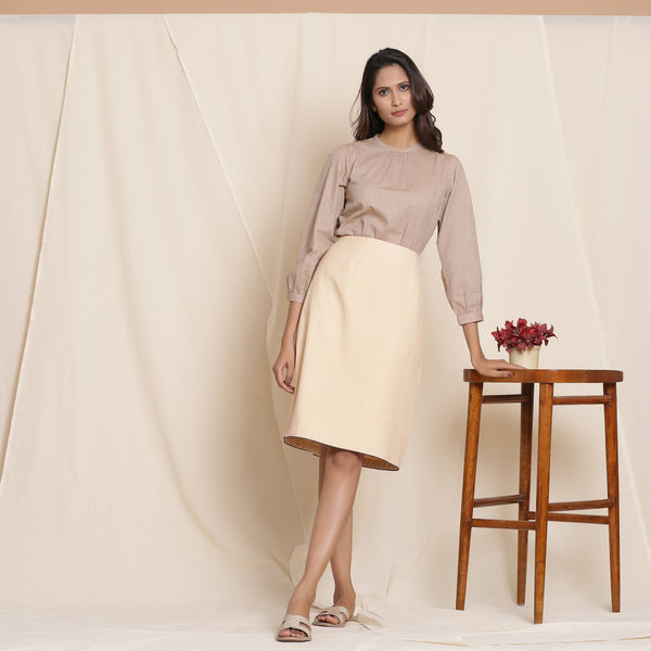 Front View of a Model wearing Warm Flannel Dusk Beige Pencil Skirt