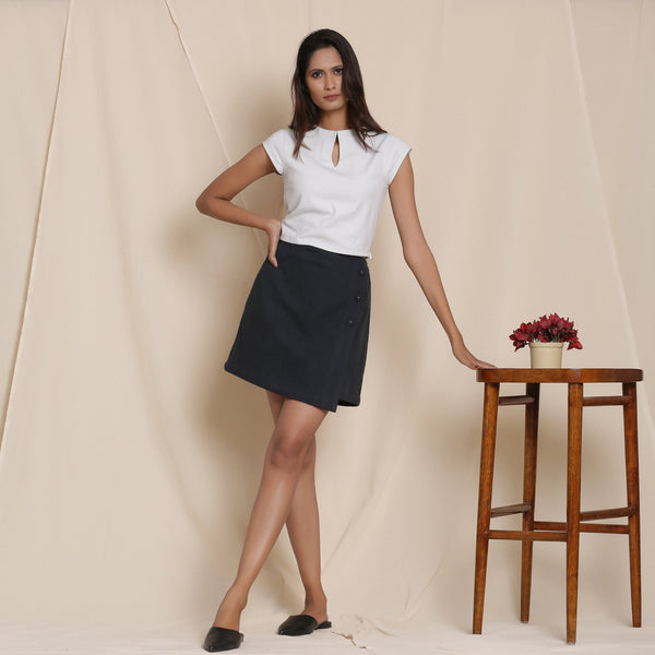 Front View of a Model wearing Warm Flannel Moonlight Black Overlap Skirt