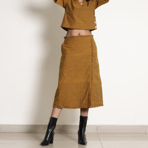 Front View of a Model wearing Warm Golden Oak A-Line Frilled Skirt